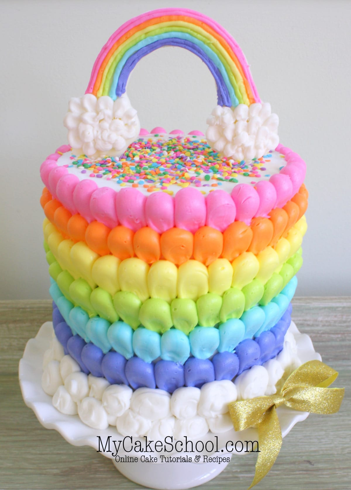 Puffed Rainbow Cake Free Cake Decorating Video