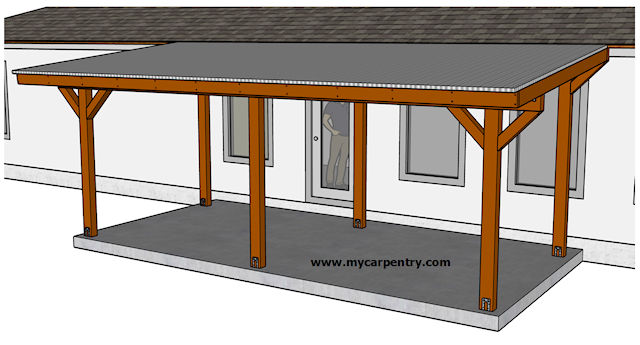 building an almost free standing patio roof