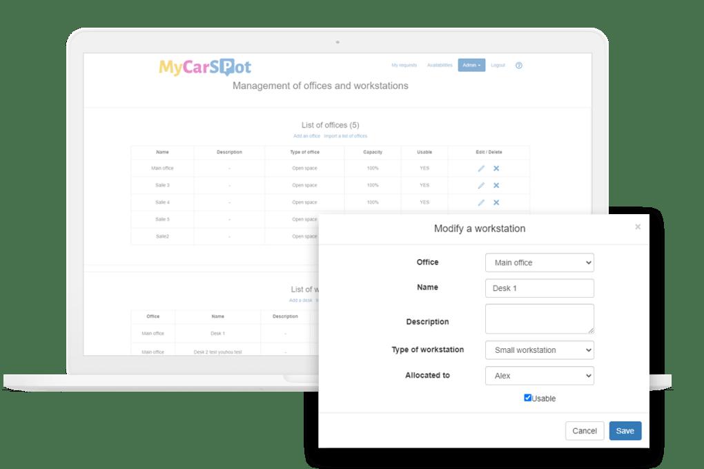 Offices - Workstations management MycarSpot