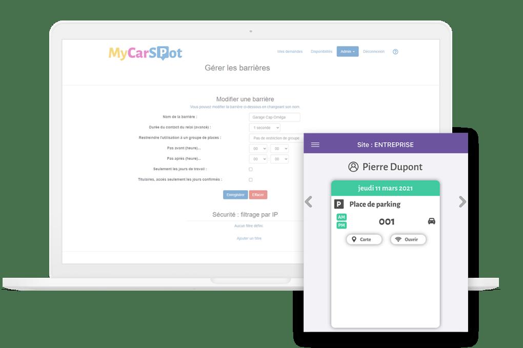 Contrôle d'accès - Gestion parking entreprise avec MyCarSpot