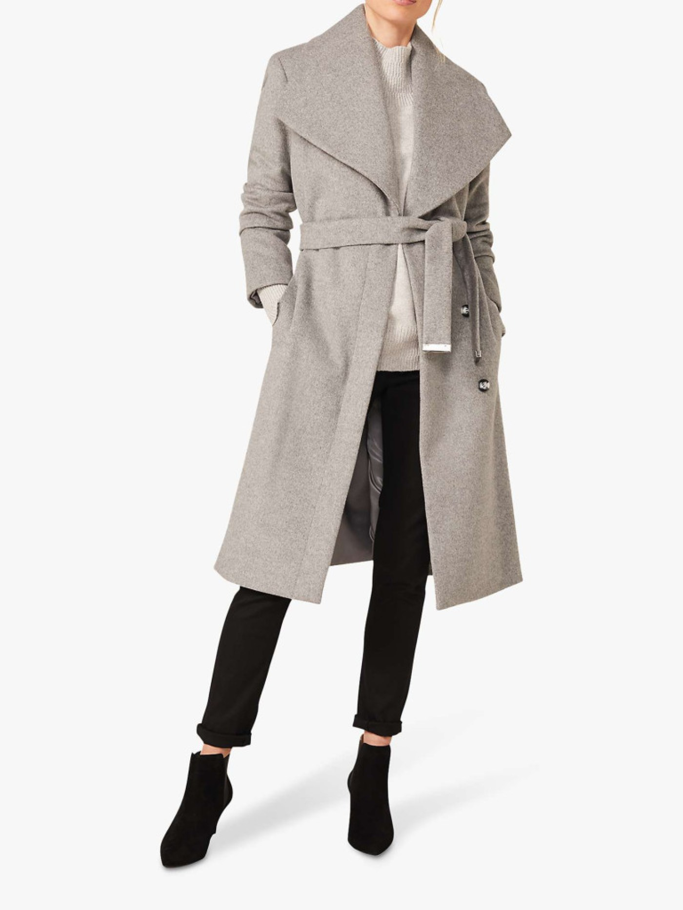 Phase Eight Nicci Belted Wool Blend Coat, Grey (Picture: John Lewis)