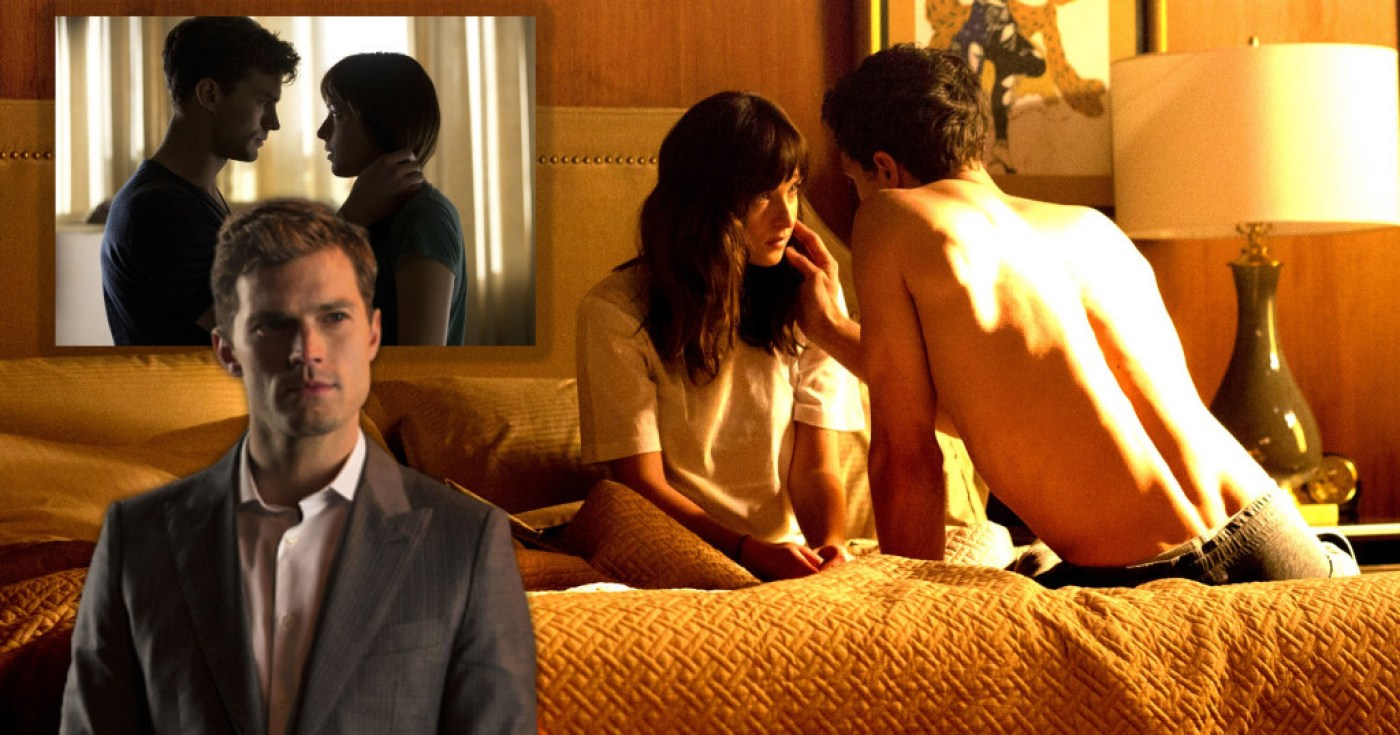 Jamie Dornan and Dakota Johnson as Christian and Ana in 50 Shades of Grey