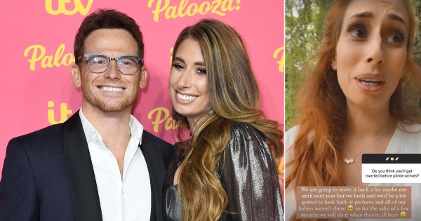 Stacey Solomon pushes wedding to Joe Swash back after announcing pregnancy so 'all their kids' can be there