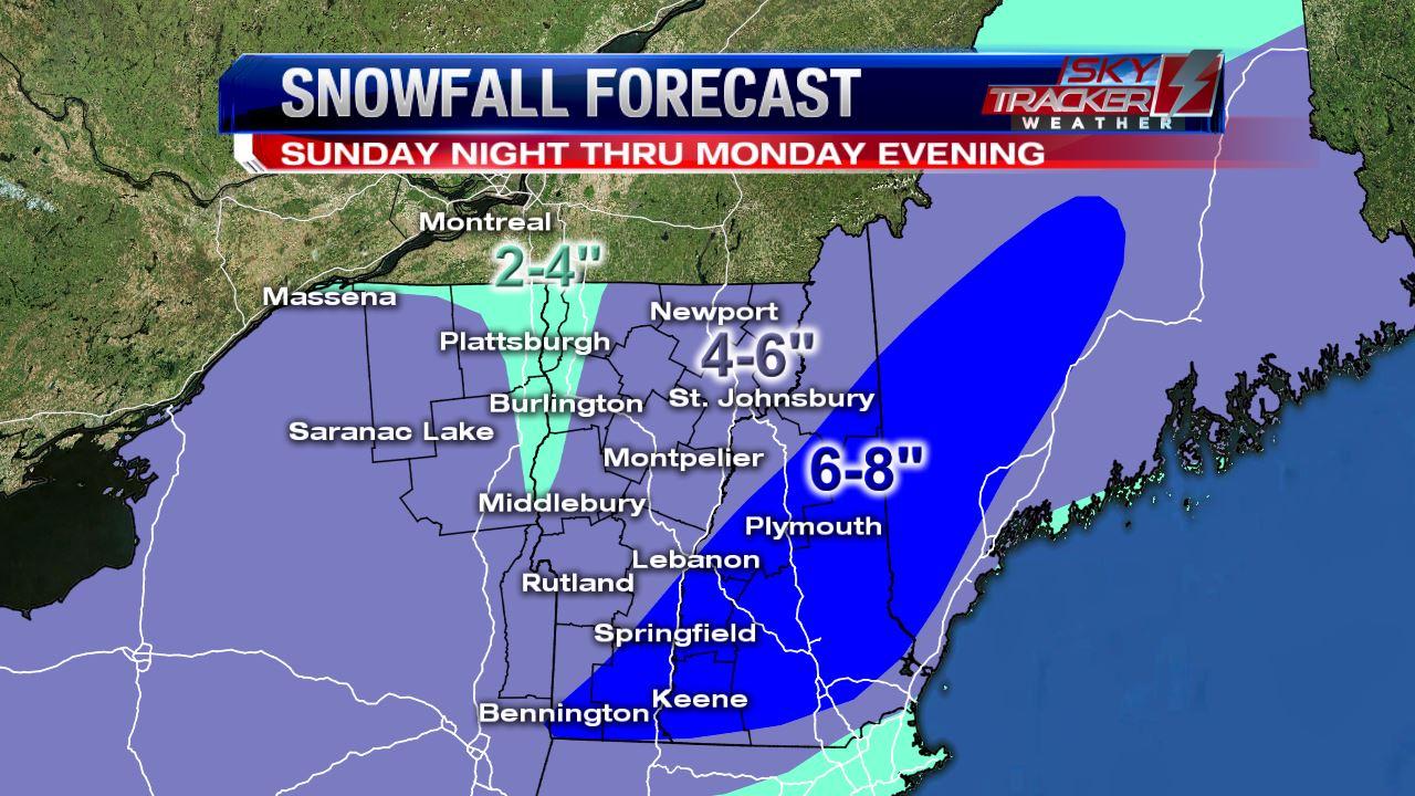 Snowfall forecast Sunday night thru Monday morning