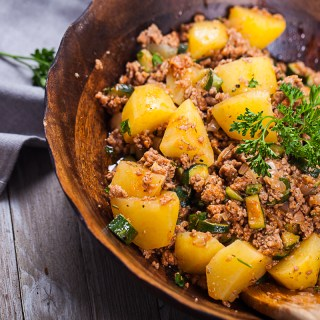 Easy Italian Spiced Zucchini-Pork and Potato Bowl