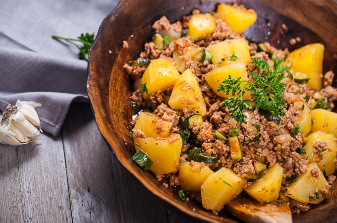 Easy Italian Spiced Zucchini-Pork and Potato Bowl