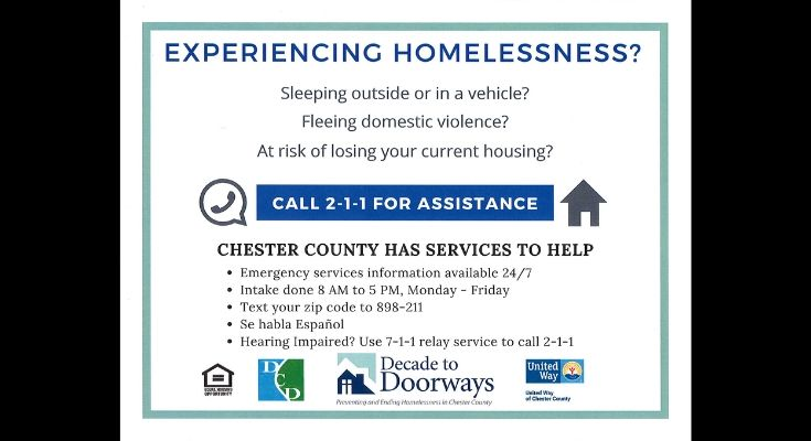 Chester County Announces New 2-1-1 Homeless Call Center