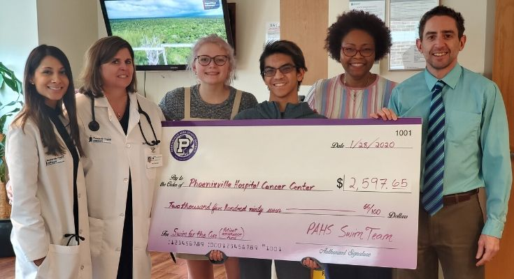 Phoenixville Area High School Swim Team Raised Over $2,500 for the Cancer Center at Phoenixville Hospital