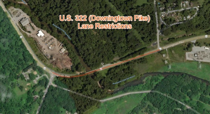 U.S. 322 (Downingtown Pike) Restricted Next Week for Bridge Replacement Project in Chester County