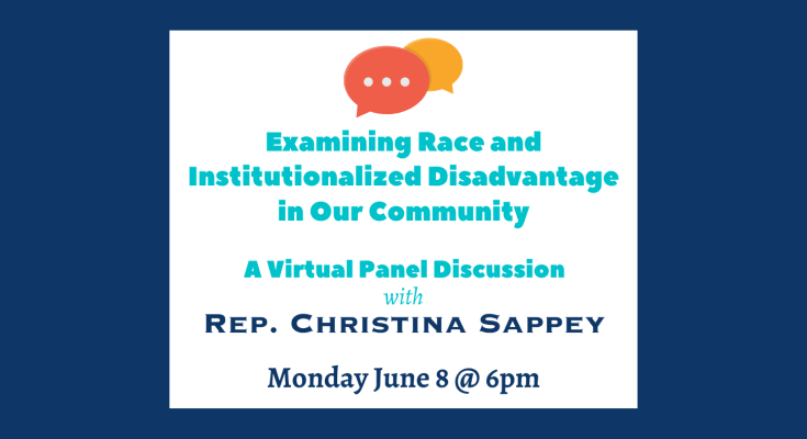Sappey holding virtual discussion Monday addressing institutionalized racism