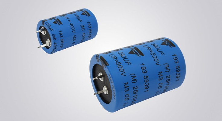 Vishay Intertechnology Snap-in Power Aluminum Capacitors Enable Higher Power Density, Increased Longevity