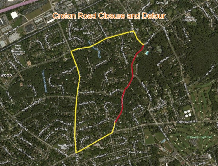 PECO to Close Croton Road for Utility Installation in Upper Merion and Tredyffrin Townships