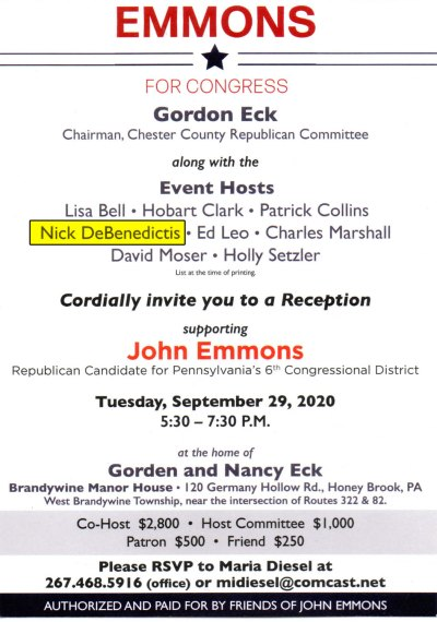 Invitation to Emmons Fundraiser