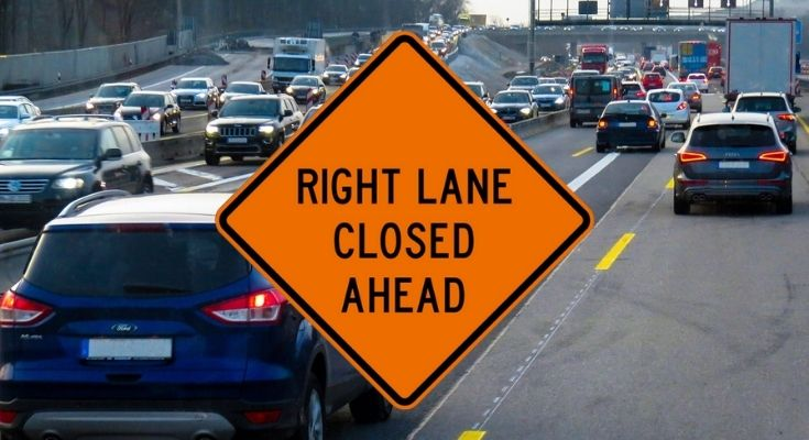 right lane closed