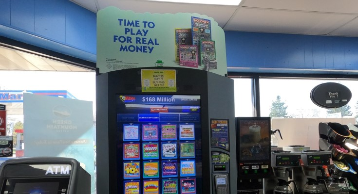 Lottery machines, tickets, signage