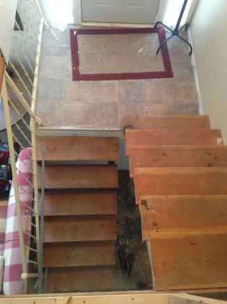 split level staircase and entryway makeover