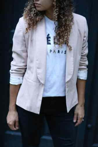 pink blazer and celine shirt