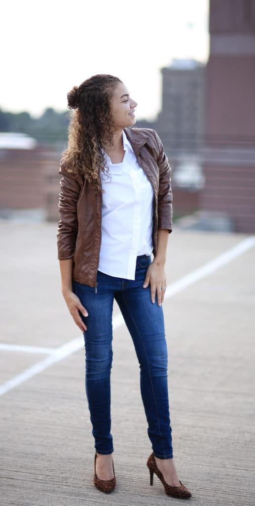 motorcycle jacket and skinny jeans