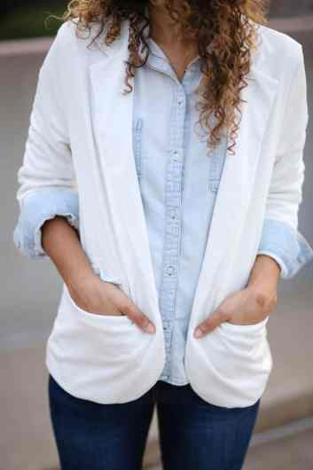denim on denim and white blazer