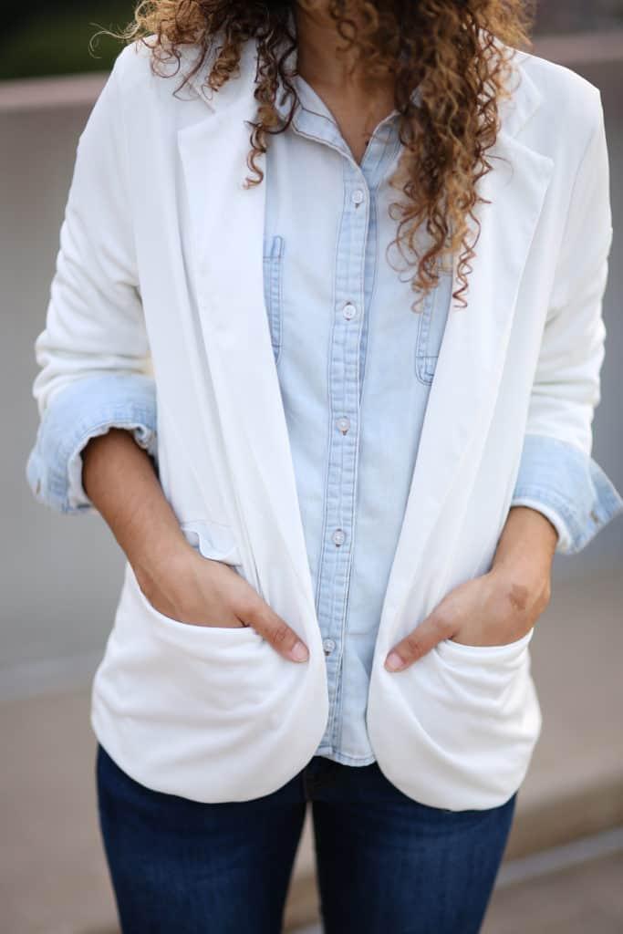 denim on denim and white blazer