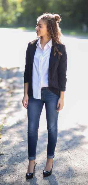 black blazer and white button down