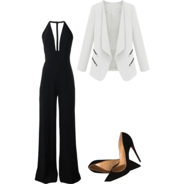 blazer and jumpsuit
