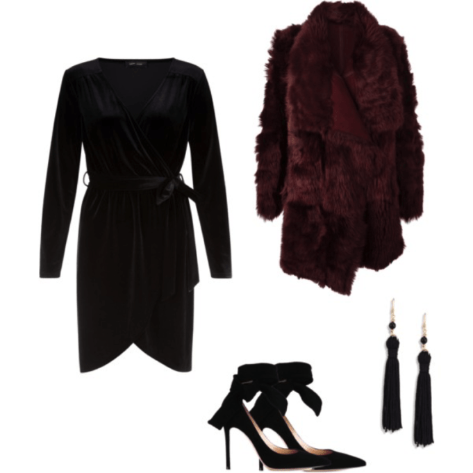 fur and velvet outfit