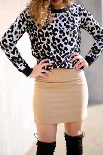camel skirt outfit