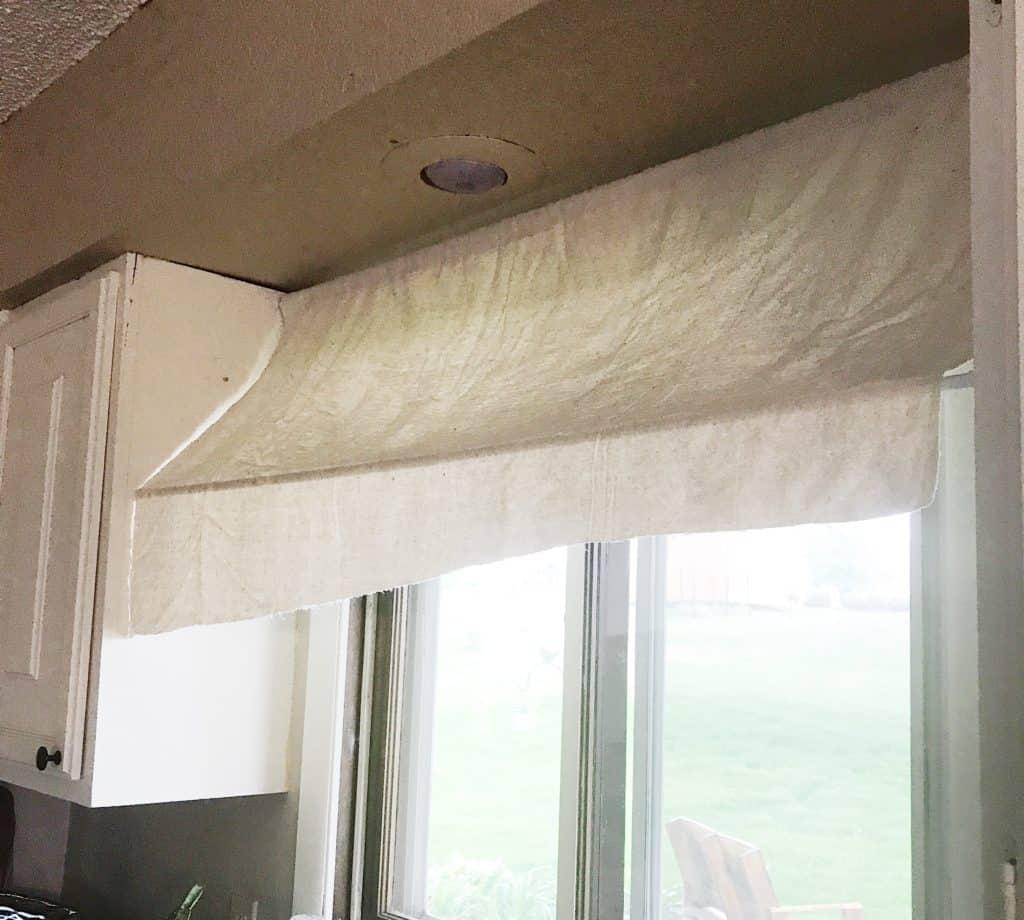 diy drop cloth striped kitchen awning