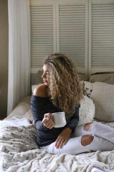 off the shoulder grey sweater fall fashion