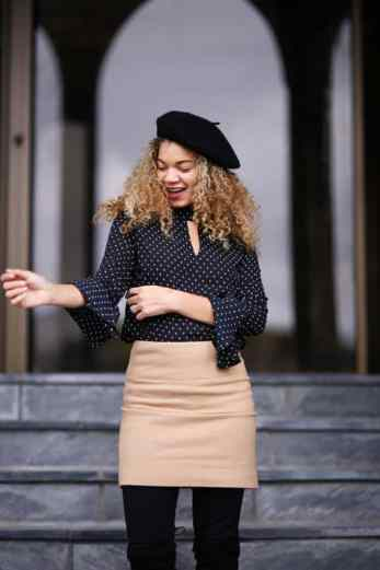 camel skirt fall outfit