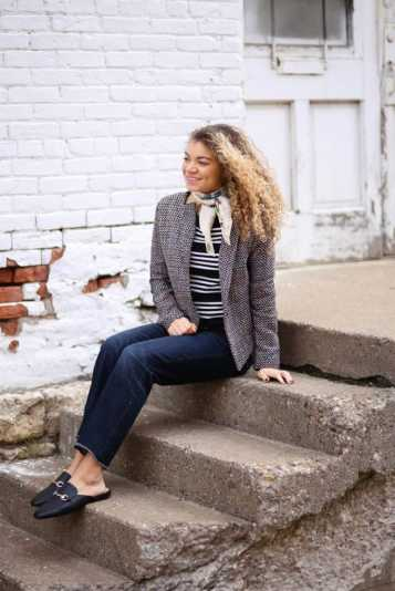 stripes and blazer outfit