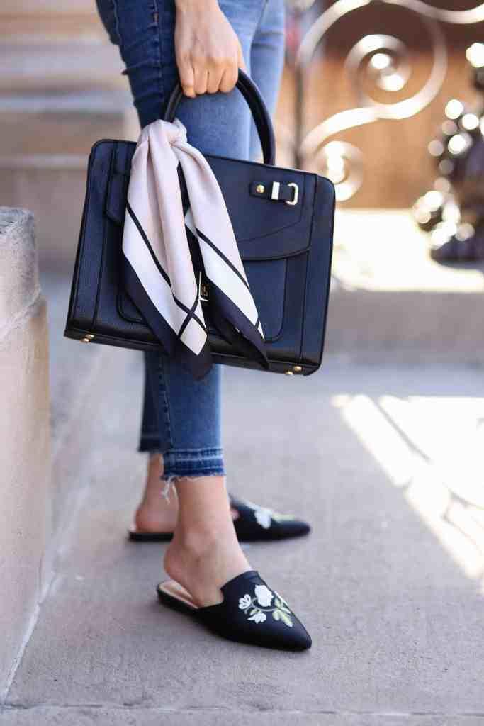 silk scarf around purse
