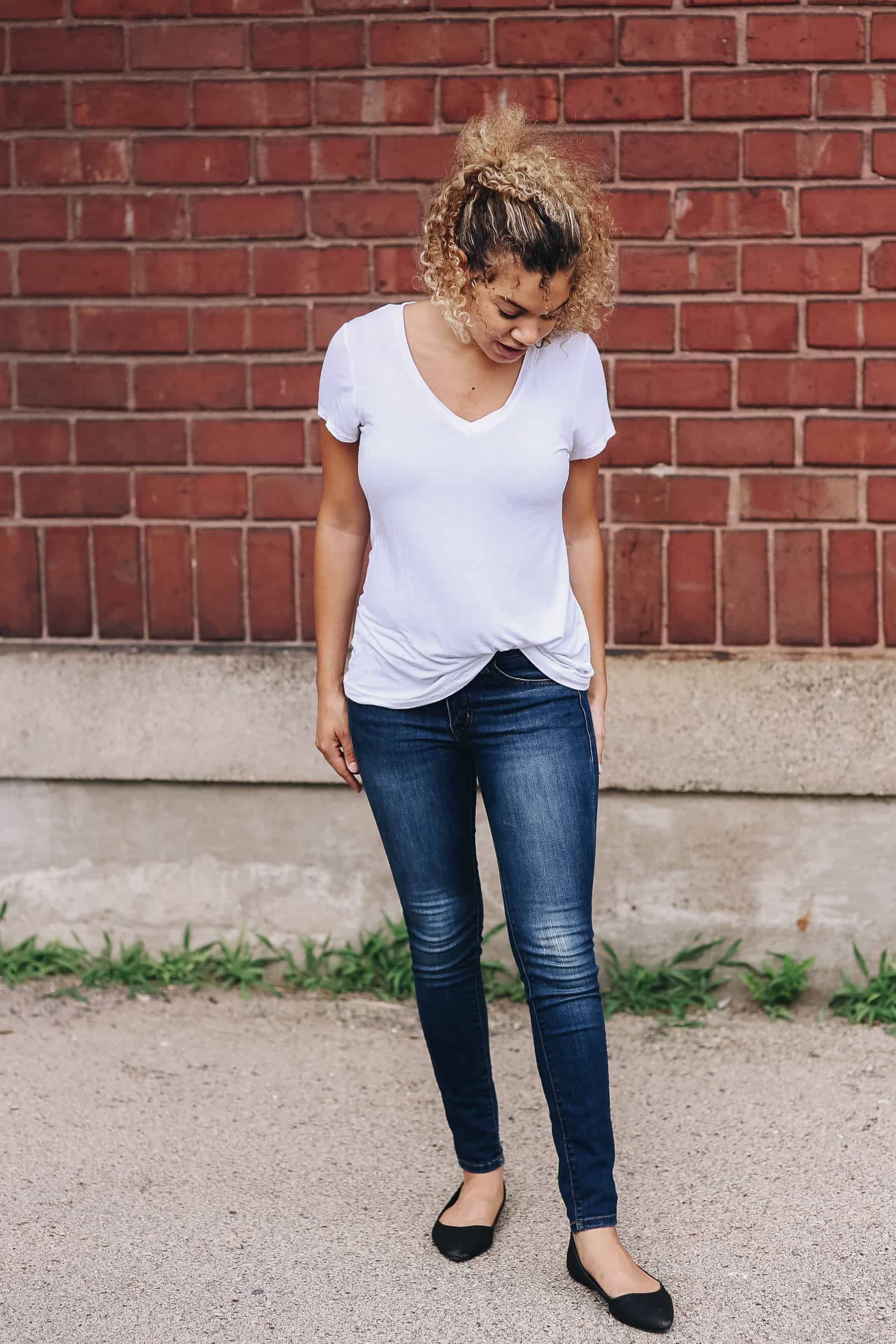 elevate a simple tee and jeans outfit
