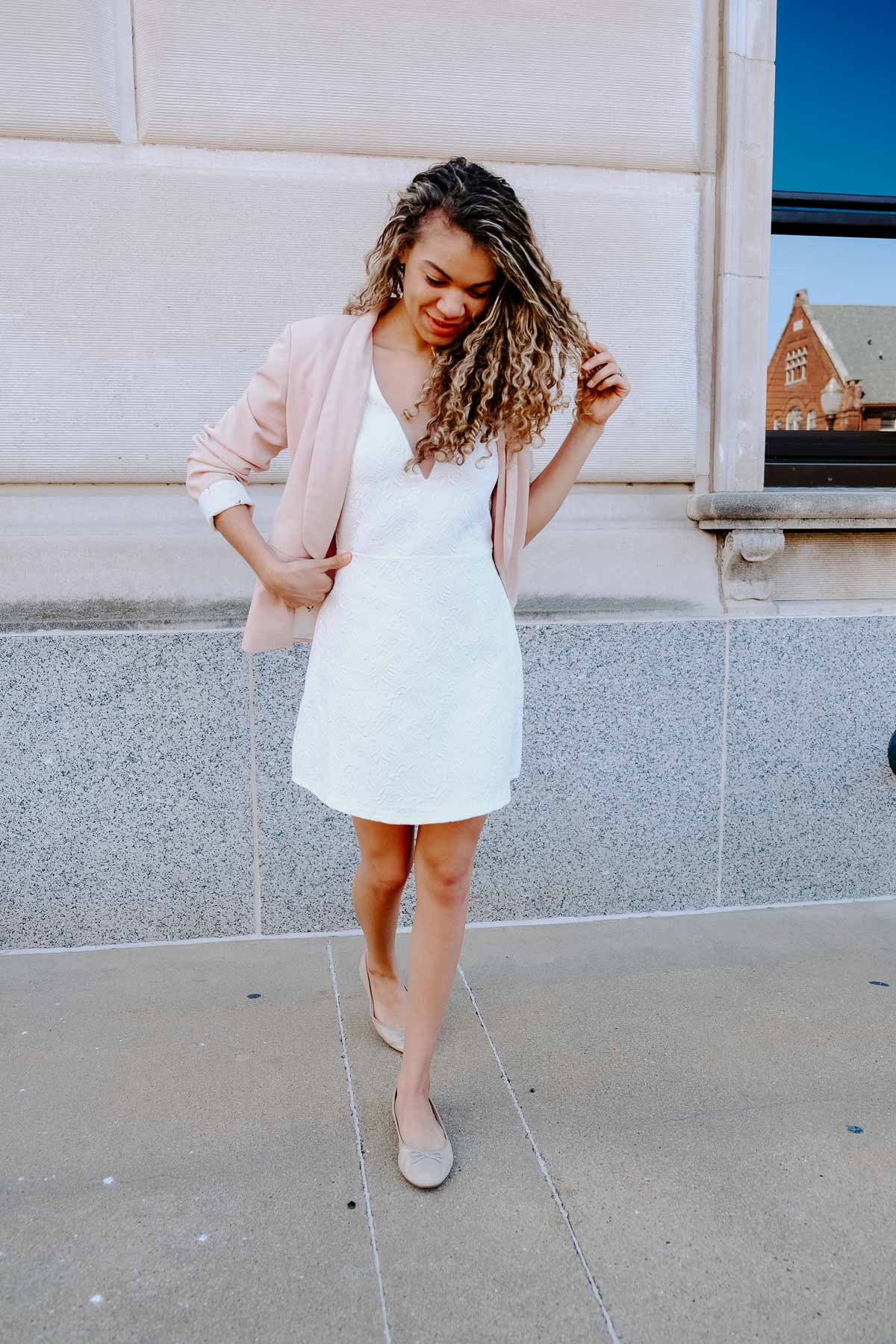 white dress with pink blazer makes the perfect spring and summer outfit!
