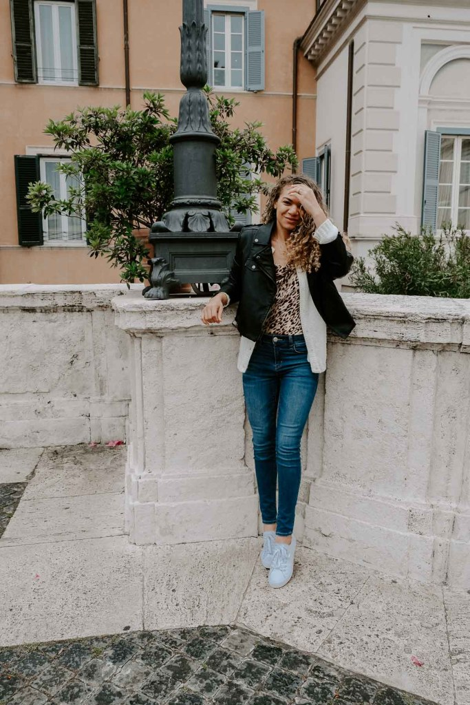 leather jacket outfit in rome italy