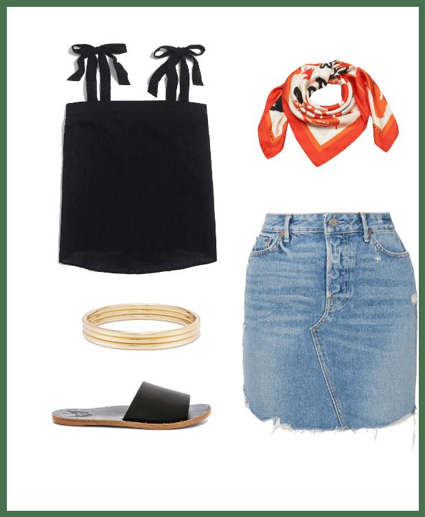 denim skirt classic summer outfit idea