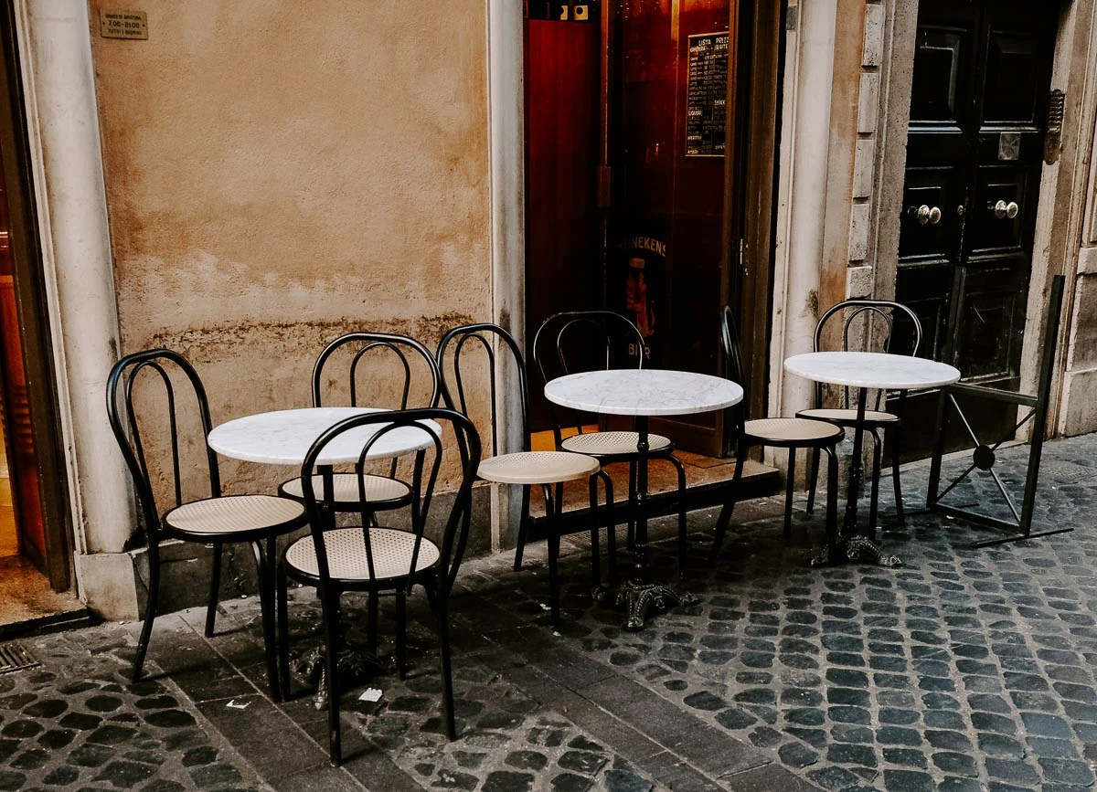 cafe shot in Rome, Italy