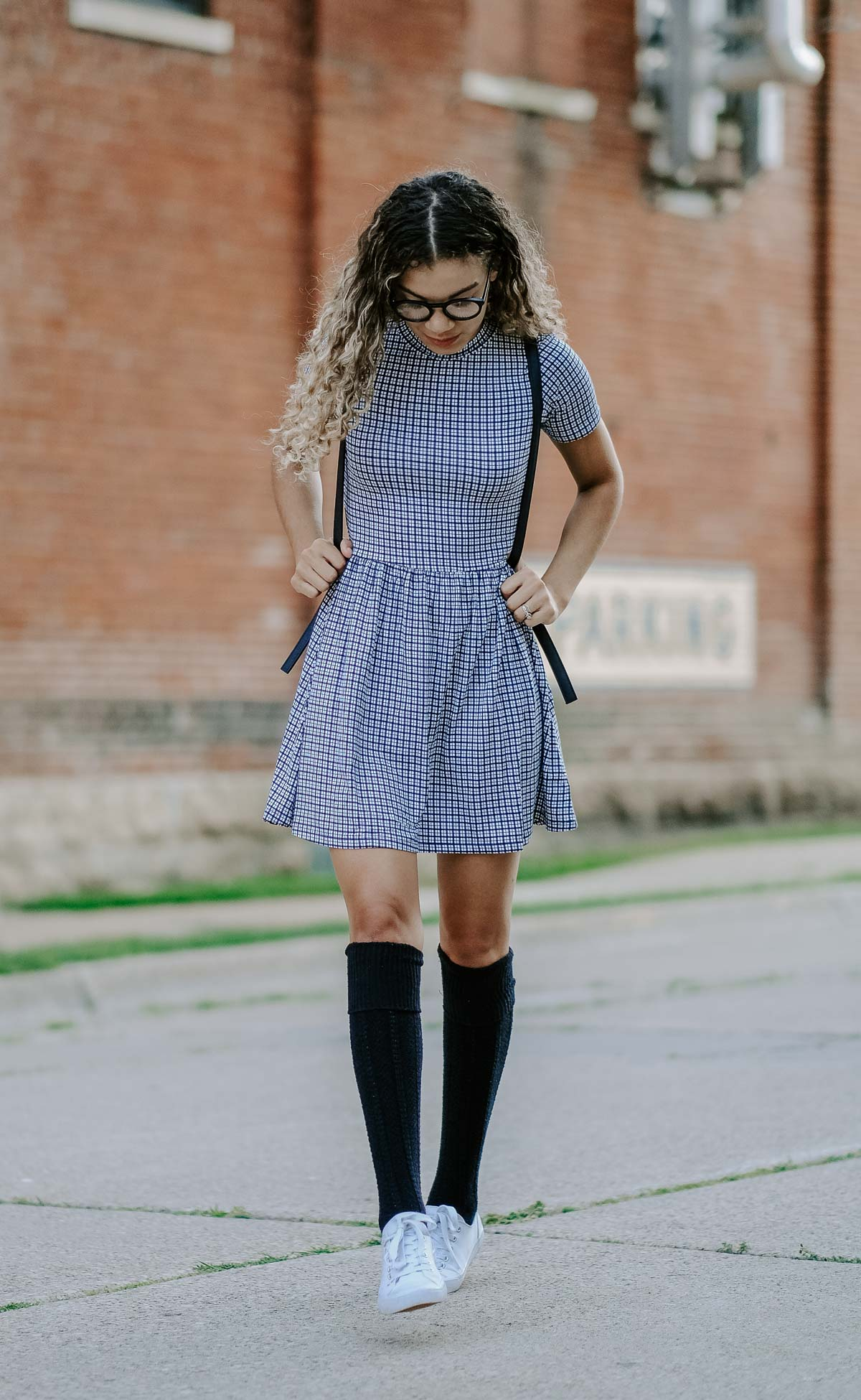 plaid dress fall back to school outfit