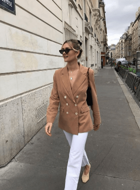 camel blazer french outfit