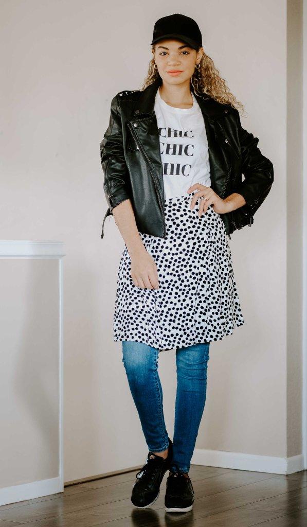 skirt worn over jeans