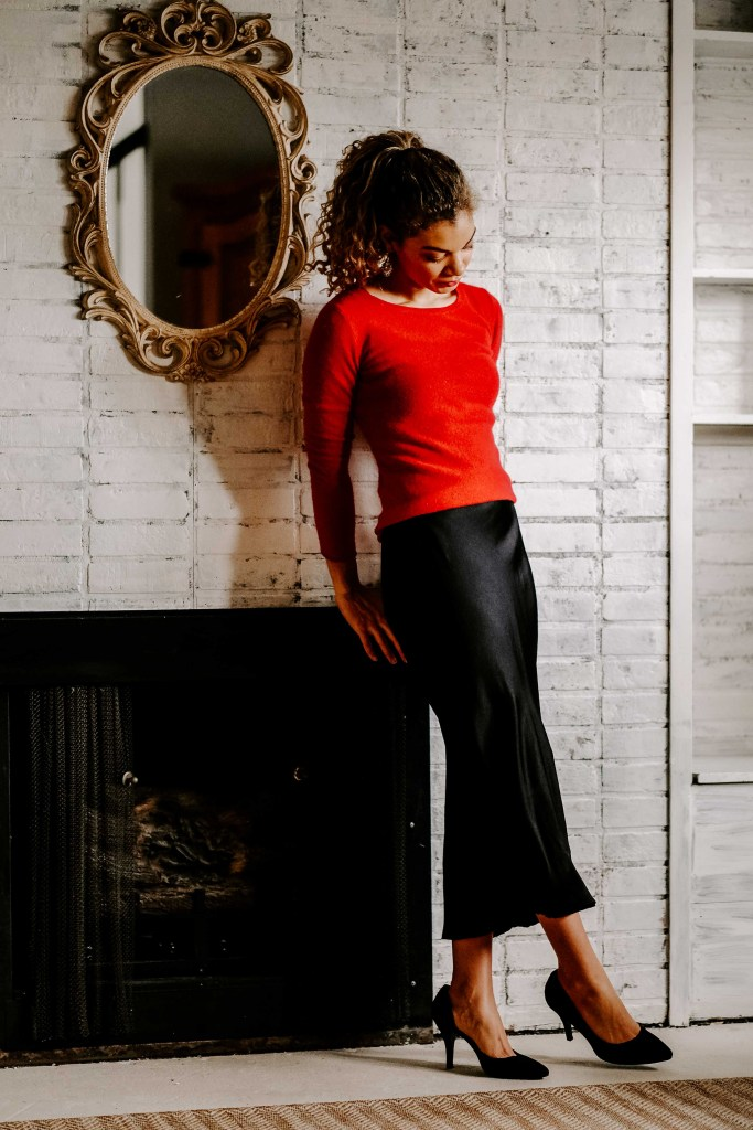 red sweater with slip dress