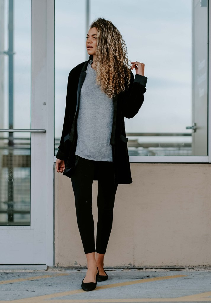 velvet blazer with leggings