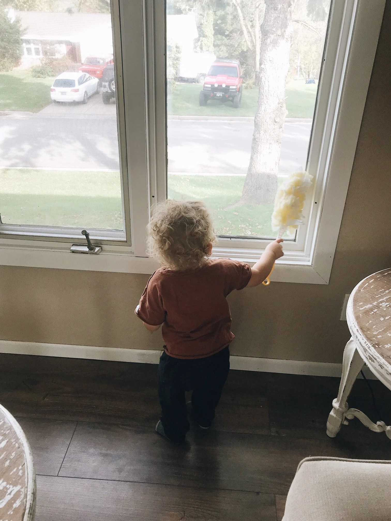dusting the window