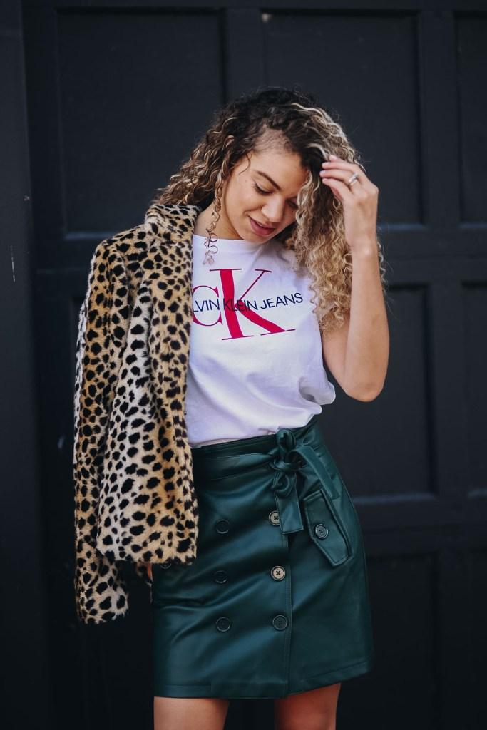 draped leopard print coat