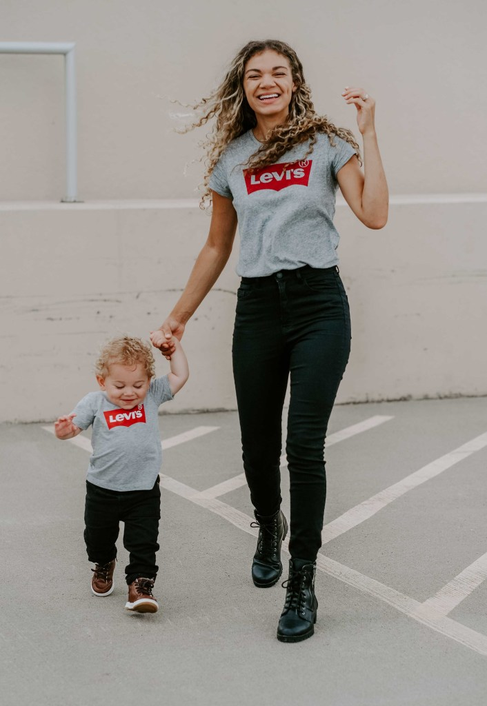 matching levi's shirt mother and son