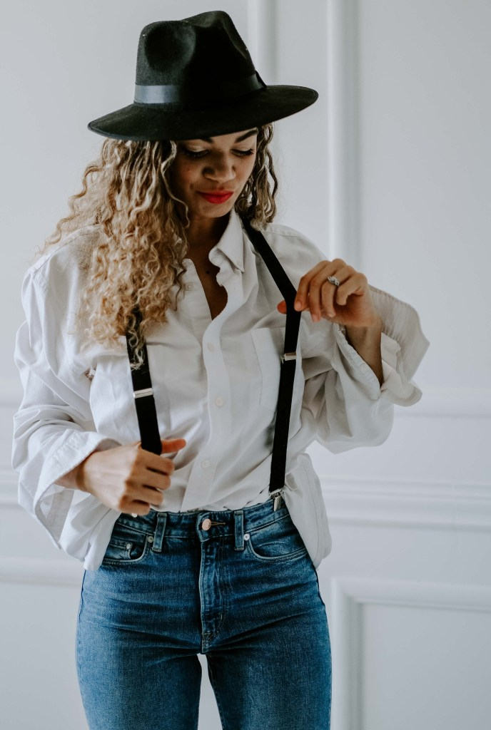 white button down with suspenders