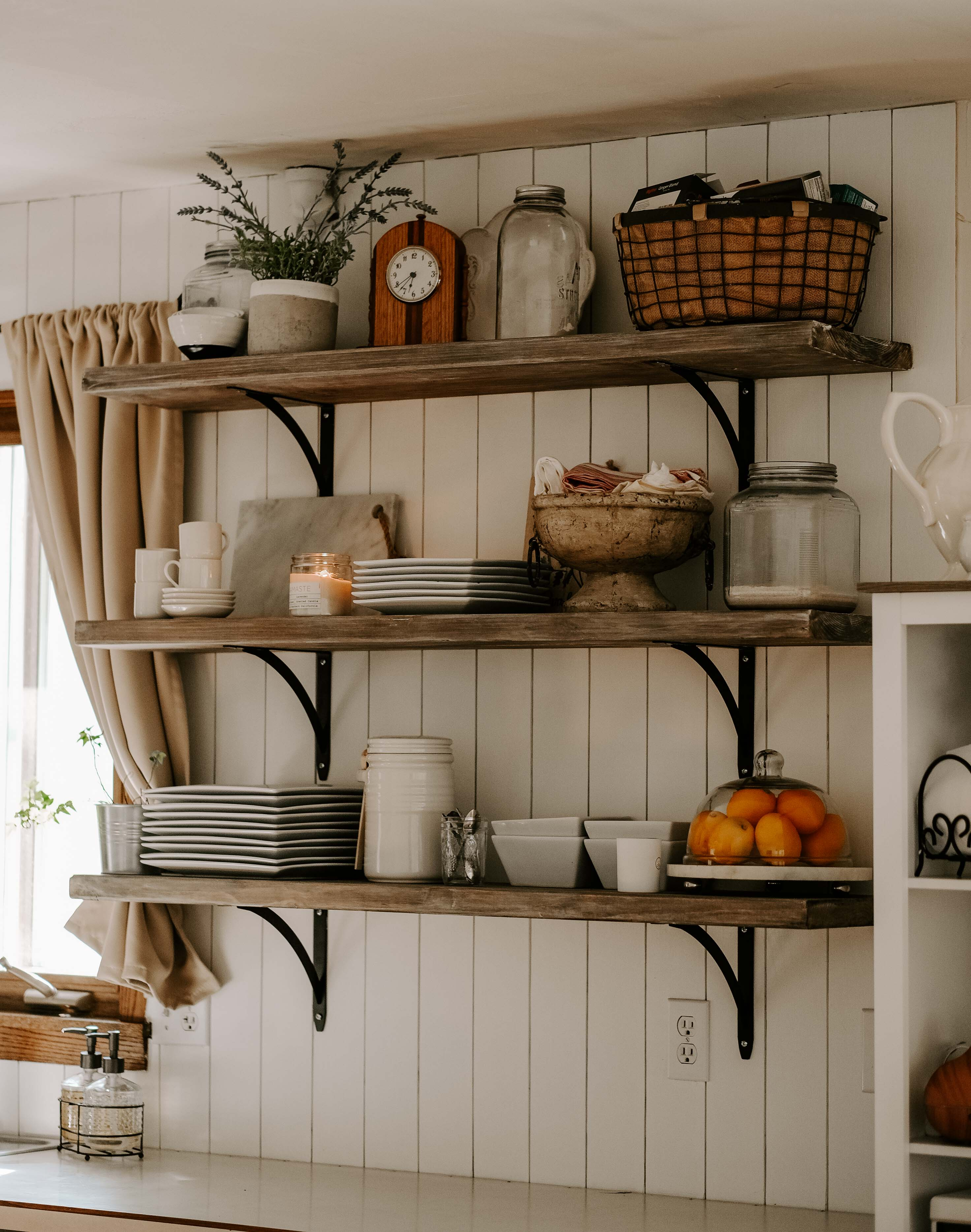 french country cottage inspired kitchen open shelving