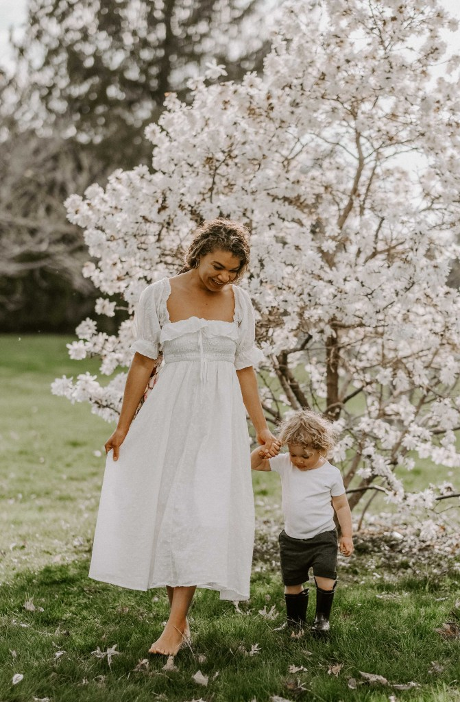 mother and son spring family pictures