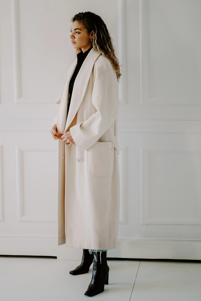 long cream coat outfit